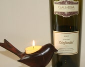 Wine Bottle Candle Gamba- Wine Bottle Candle Choose your own Scent Container recycled upcycled purple cherub
