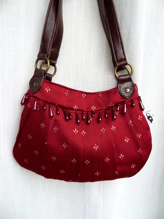 Reserved for rouxyfam - Red fabric handbag, red handbag, red shoulder bag, leather handles shoulder bag, great Christmas present