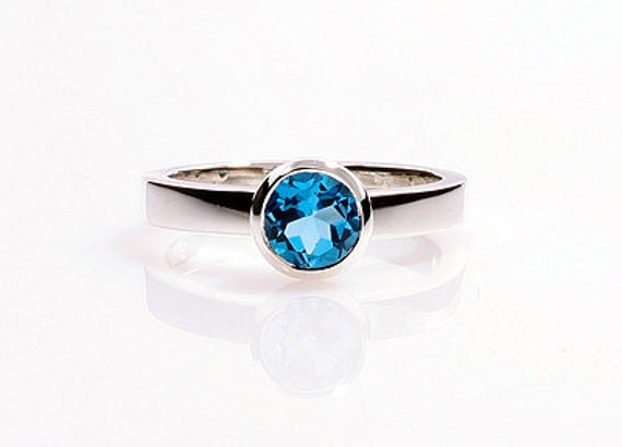 Blue topaz ring,  Engagement ring, Topaz ring, white gold,  Blue engagement, Birthstone ring, Solitaire, Bezel, birthstone