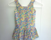 Girls Colorful Dress Sleeveless Knit with Flowers and Ruffled Skirt Size 3 4 (CC10)