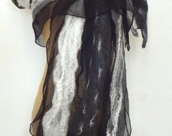 Nuno felted scarf, silk and merino wool, black, light grey, dark grey and white.