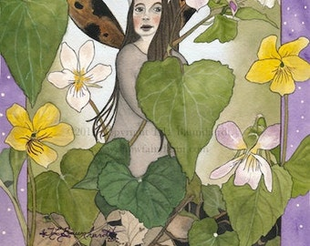 Violet Fairy - fairy/faerie art print (reproduction) from original watercolor fairy painting - size 6 x 8, matted 8 x 10.