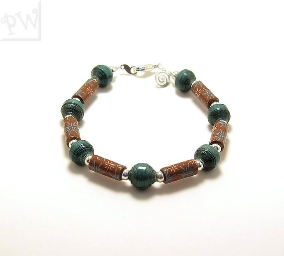 Bracelet, Beaded Bracelet, Paper Bead Bracelet - Origami Paper Bracelet - Origami Beads - Paper Beads, Handmade Bracelet