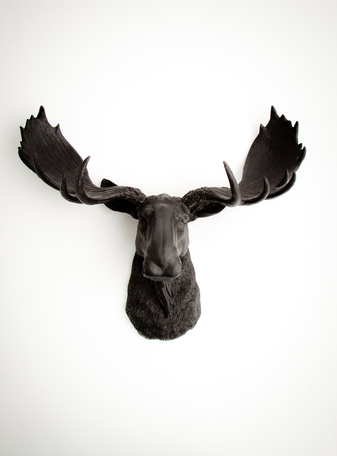Faux taxidermy moose head the leonard black resin moose - Fake moose head mount ...
