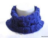 Royal Blue Neckwarmer, Blue Cowl, Sporty Gaiter, Stadium Wear, Man's Neckwarmer, Hand Knit Cowl, Handmade in the USA, Ready to Ship