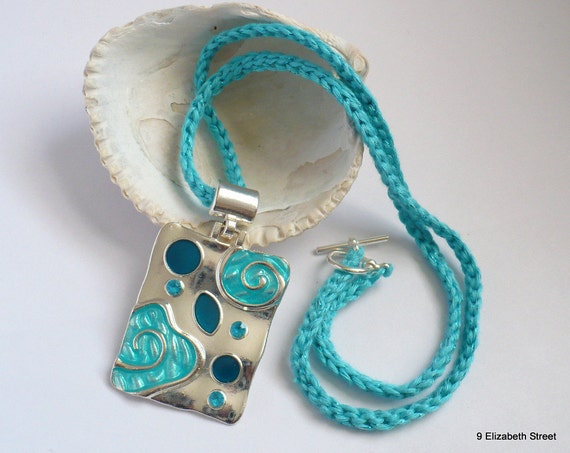 Op art pendant, Turquoise and silver cloisonne necklace, crochet necklace