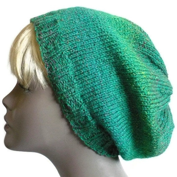 Hand Knit Hat, Slouchy Beanie, Emerald Green Tam, Soft Knit Hat