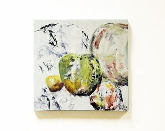 "SALE . Airy apple bubbles. Abstract painting, oil on wood. Boho decor, Square painting 7.2""x7.5"""