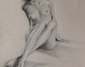 "Nude woman figure drawing, fine art print from original black and white charcoal drawing by Vernon Grant 11"" x 14"" digital print"