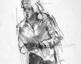 "Female figure, large print, fine art digital print of my original charcoal drawing by artist Vernon Grant, 24"" x 30"" Walking Away"