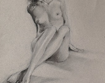 """Nude woman figure drawing, fine art print from original black and white charcoal drawing by Vernon Grant 11"""" x 14"""" digital print"""