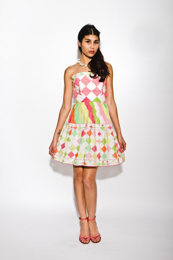 PRICED 2 CLEAR was 850 now 375 collector's item vintage 1960s Emilio PUCCI strapless harlequin print garden party sun dress