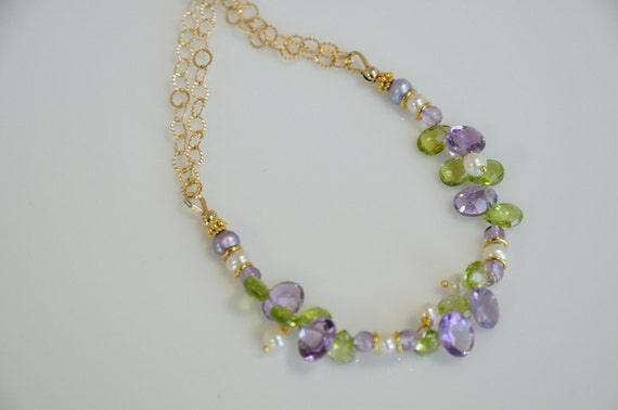 Amethyst gemstone necklace and green peridot , sparkling faceted oval amethyst tangle with white freshwater pearls