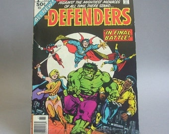 """Vintage The Defenders Comic Book, King Size Annual, Vol. 1 No. 1 """"In Final Battle"""", 1976, Marvel  Comics"""