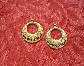2 Vintage Raw Brass Filigree Hoops  ..  B - 3