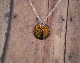 Little FALL TREE Enamel on Copper Pendant with Sterling Silver