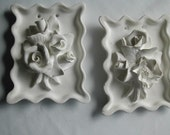 Chalkware Magnolias and Roses Wall Hangings