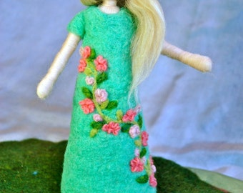 Waldorf inspired needle felted doll: Flowers-dress fairy