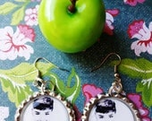 Bottle Cap Dangle Earrings Audrey Hepburn Cute Smile Fun Black and White