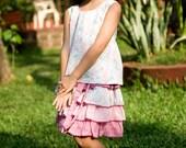 Pink Shirt,Girls Tank Top,Retro Top, Reversible Top,Girl Summer Shirt,Birthday Shirt,Baby Toddler Shirt