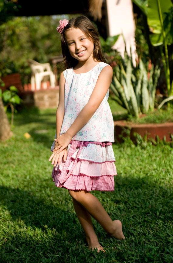 Sale 20%,Pink Shirt,Girls Top,Retro Top, Reversible Top,Girl Summer Shirt,Birthday Shirt, Toddler Shirt,Vintage Style Top,Party Shirt.