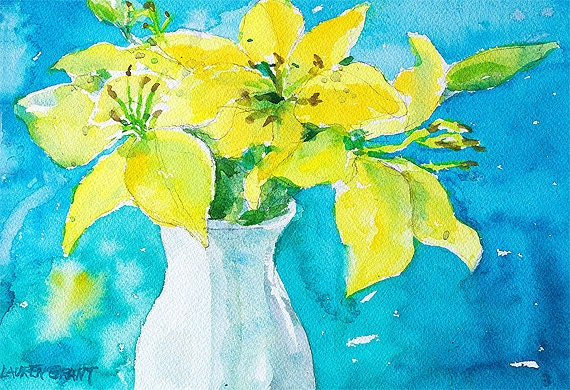 """Watercolor flowers fine art print, rich colors, digital print 9"""" x 12"""" Yellow Flowers on Turquoise"""