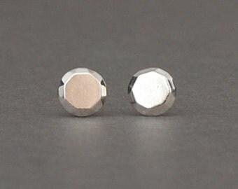 Faceted round stud earrings in sterling silver, simple studs, everyday earrings
