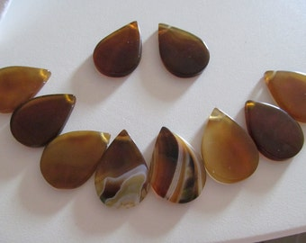 Tear drop Brazilian agate gemstone large beads