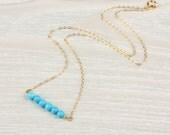 Turquoise bead necklace / Bridesmaid necklace / Bar necklace / 14k gold filled necklace / Beaded necklace / Wedding necklace   Galene