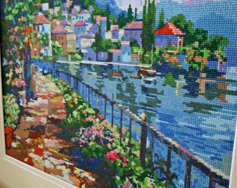 Seaside garden walk cross stitch art completed