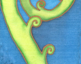 New Zealand Silver Fern Frond Painting on silk