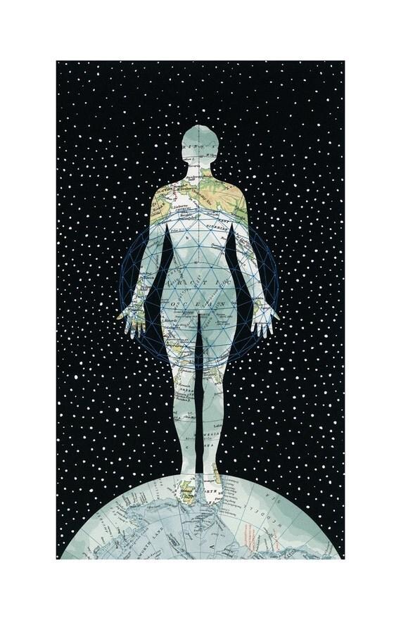 ARCHIVAL PRINT The Keeper / map art collage anatomy female figure globe earth arctic black blue thread