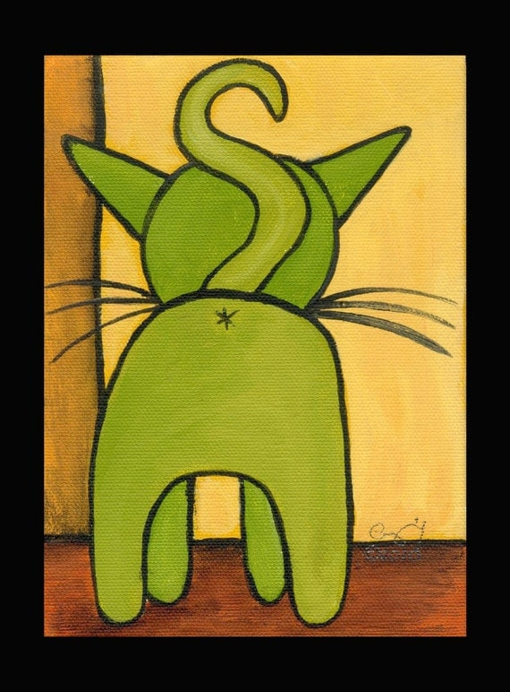 "8 X 10 custom matted print ""Green Kitty Butt"""