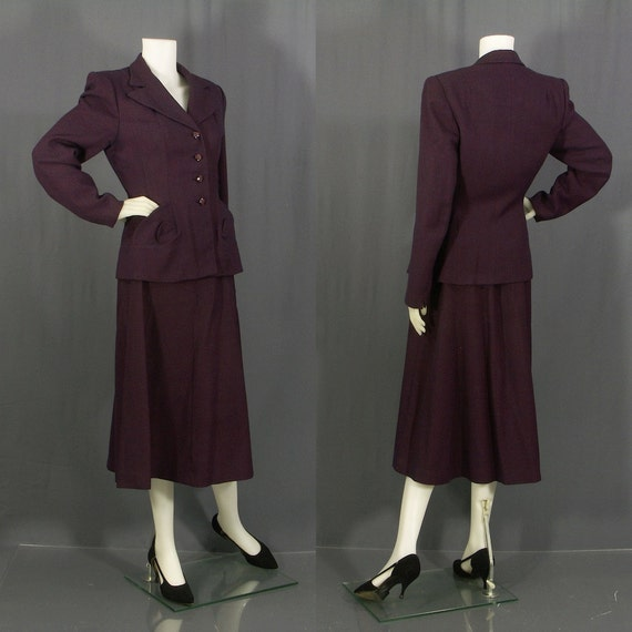 1940s pin dot wool suit by Crawford's