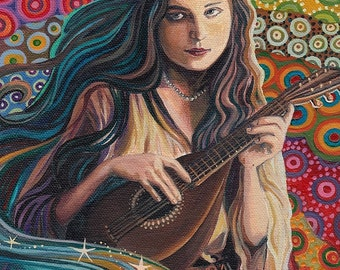 Muse of Music 5x7 Greeting Card Pagan Mythology Psychedelic Art Nouveau Gypsy Goddess Art