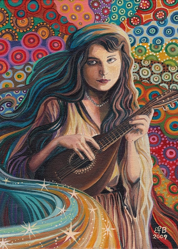 Muse of Music Psychedelic Art Nouveau Gypsy Goddess 5x7 Greeting Card