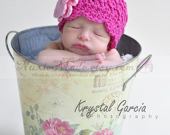 Pink Hat 0-3 Months, Baby Girl Hat, Pink Hat, Hat with Flowers, Flapper Hat, Photo Prop, Crochet Girl Hat, Pink Winter Hat, Baby Hat