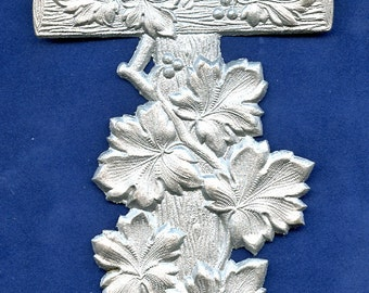 Antique Embossed Cross Silver Molded Paper Ephemera 1800s Victorian LARGE and So Cool