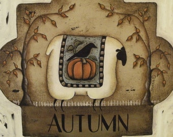 4 Seasonal Sheep Prints. Set of four square Seasons Sheep folk art prints. Spring - Summer - Autumn - Winter. Donna Atkins
