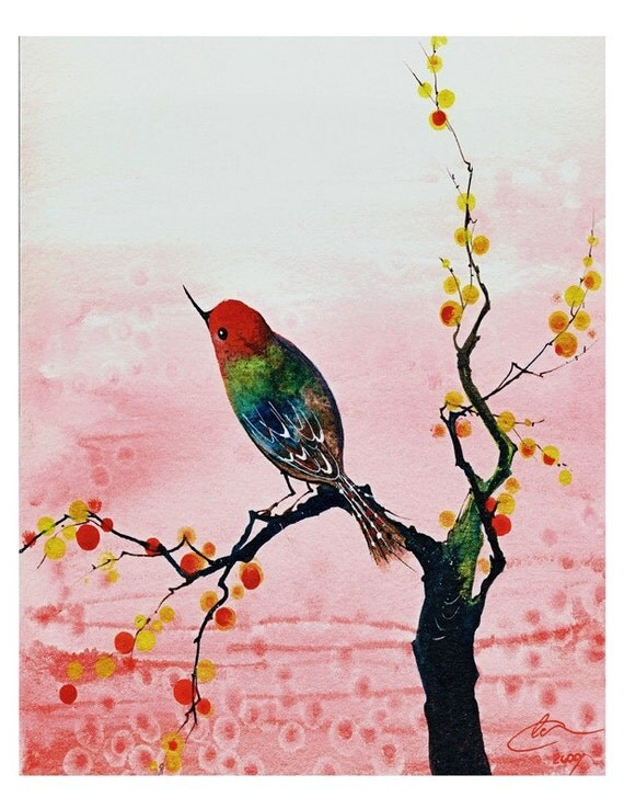 Warm Reflection - Watercolor Art Print Hummingbird Pink Cherry Blossoms Colorful Painting Available in Paper and Canvas by Olga Cuttell