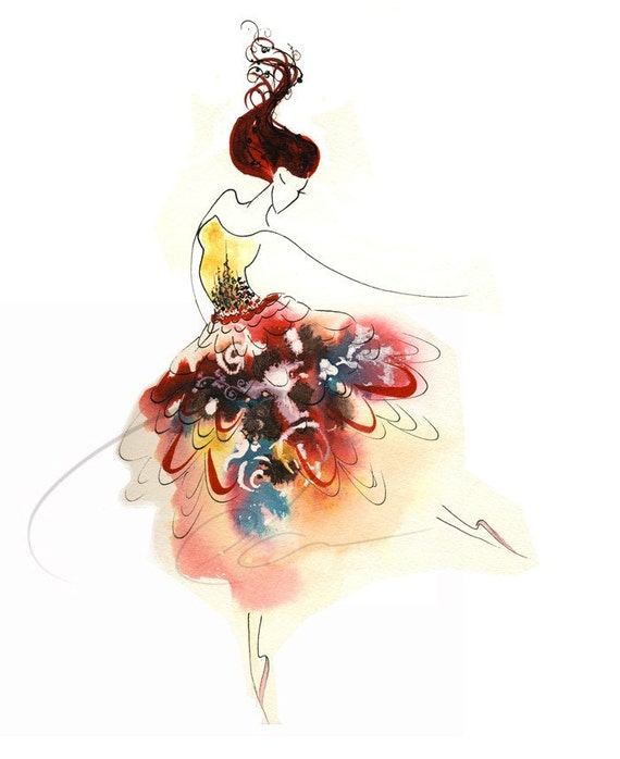 Tiny Dancer Watercolor Art Print Ballerina Woman Dancing
