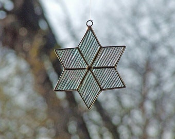"""Unique Star Sun catcher - Stained Glass Star from Iridescent Cord Glass 3 1/2"""""""