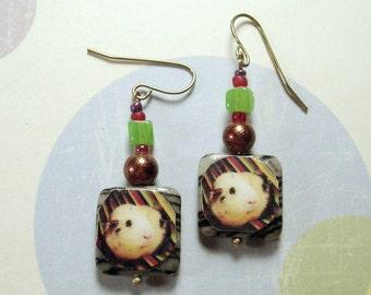 GUINEA PIG Photo Earrings - OOAK Beaded Jewelry - Zebra Jasper, Green Jade, Czech Glass & Gold Earwires