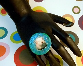 GUINEA PIG RING - Textured Teal Polymer Clay Handmade Photo Jewelry with Adjustable Gold Band