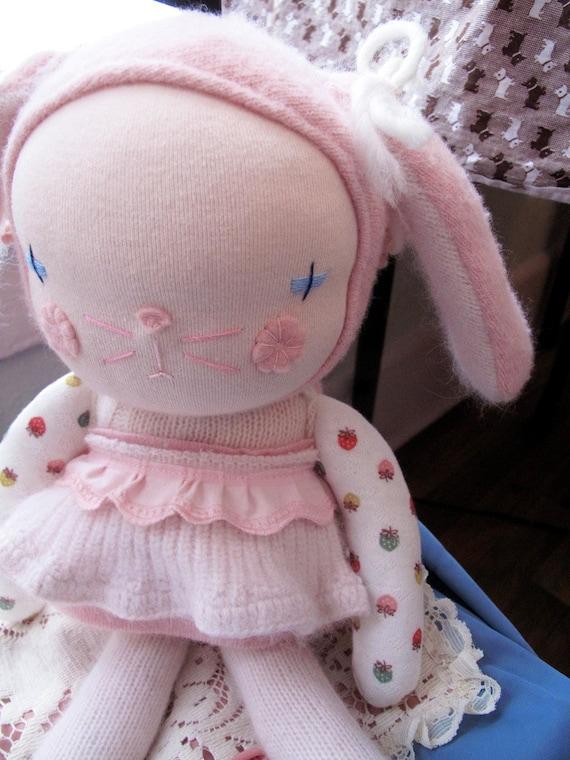 Bunny doll, Waldorf doll inspired, Kawaii doll, handmade - made to order