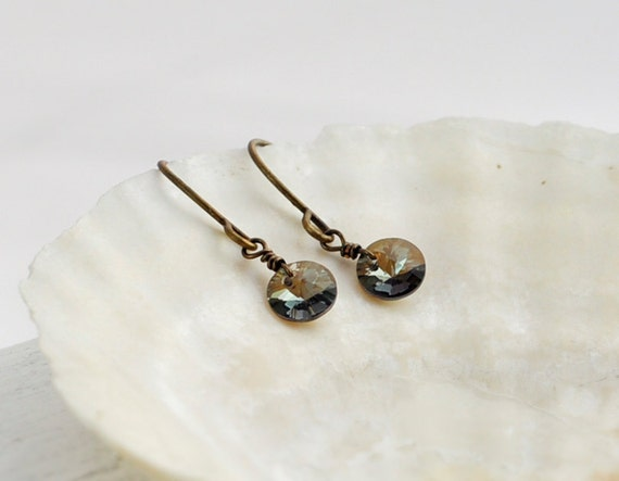 Bronze crystal earrings - small round dangles - simple everyday jewelry - edor  gift for her