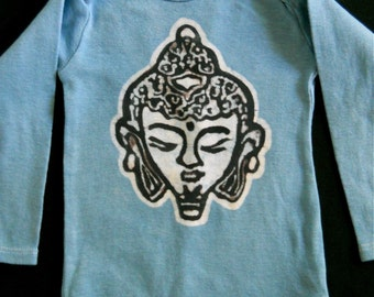 SALE organic cotton baby shower gift Buddha batik long sleeved one piece baby top birthday party hand painted blue bodysuit  3 to 24 months
