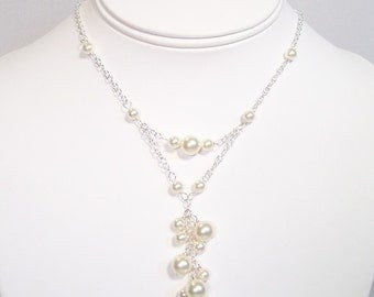 Cream Wedding Necklace Pearl Cluster, Y drop Bridal Jewelry, Ivory, soft ivory, off white, butter, diamond white, honey, chandelier, neutral