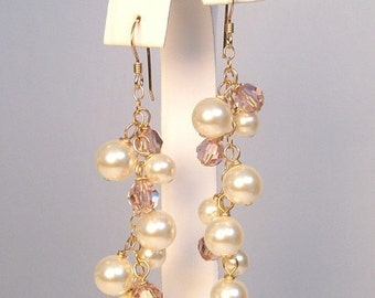 Ivory & Dusty Rose Bridesmaid Earrings, Mauve Crystal Cluster Chandelier Jewelry, Mauve Weddings, Dusty Rose Bridesmaids, plum