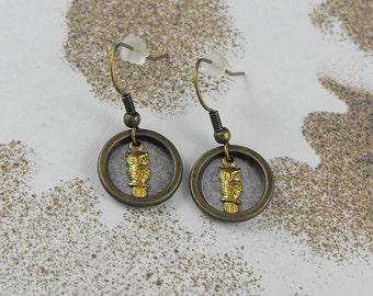 Brass Owl Earrings - The Watchful Owls by COGnitive Creations
